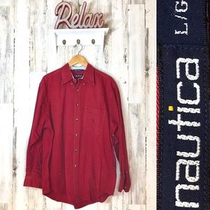 Large Men's Nautica Red Button Down